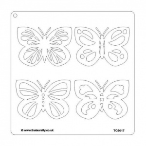 That's Crafty! 8ins x 8ins Stencil - Flutterbys - TC8017
