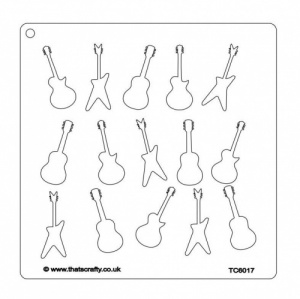 That's Crafty! 7ins x 7ins Stencil - Guitars - TC6017