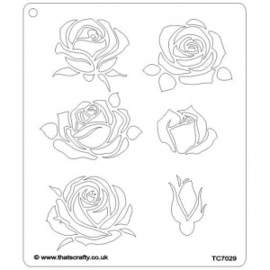That's Crafty! 6.5ins x 7.5ins Stencil - Roses - TC7029