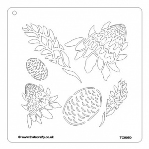 That's Crafty! 8ins x 8ins Stencil - Tropical Ginger Flowers - TC8050