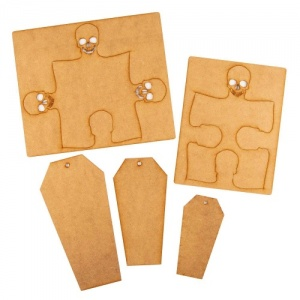 That's Crafty! Surfaces MDF Coffin Tags & Skull Jigsaw Pack