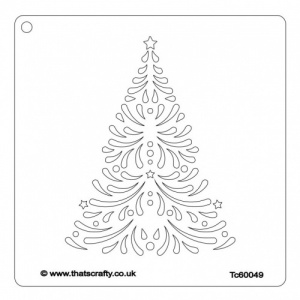 That's Crafty! 6ins x 6ins Stencil - Swirly Christmas Tree - TC60049