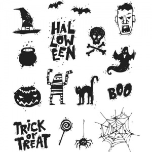 Tim Holtz Cling Mounted Stamp Set - Spooky Scribbles - CMS349