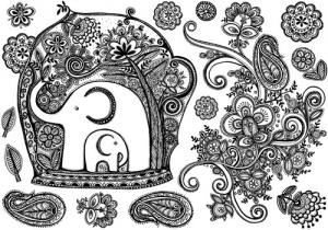Crafty Individuals Stamp - Crafty Elements - Sweet Elephants and Swirl CI351