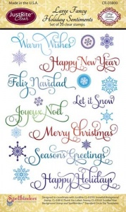 JustRite Clear Stamp Set - Large Fancy Holiday Sentiments