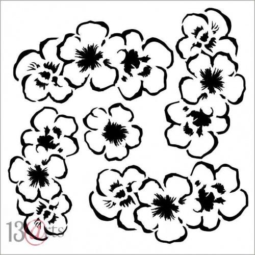 13 Arts Stencil - Rose Fields - Flowers #1