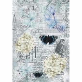 13 Arts A4 Paper Sheet - Blue Magnolia - Butterfly Collage