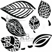 AB Studio Stencil - ID157 - Mixed Media Leaves