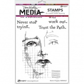 Dina Wakley Media Cling Mount Stamp Set - Work in Progress