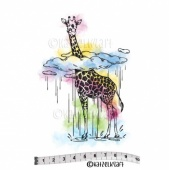 Katzelkraft Unmounted Rubber Stamp - Girafe dans les Nuages - SOLO-129
