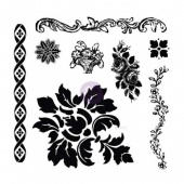 Prima Iron Orchid Designs Decor Clear Stamp Set - Fleur - 814342