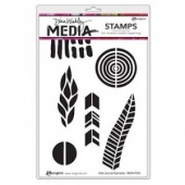 Dina Wakley Media Cling Mount Stamp Set - Bold Journal Elements