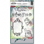 Dina Wakley Media Stamp and Stencil Set - Scribbly Vintage Holiday