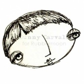 Rubber Moon - Sunny Carvalho - Cling Mounted Stamp - A Head Bigger Than All the Rest!