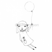 Rubber Moon - Kae Pea - Cling Mounted Stamp - Beautiful Balloon Girl