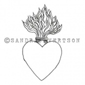 Rubber Moon - Sandra Evertson - Cling Mounted Stamp - Burning Heart
