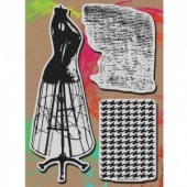 STAMPENDOUS! Mixed Media Jumbo Cling Rubber Stamp Set - Dress Form