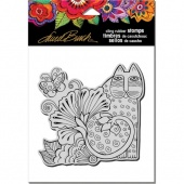 STAMPENDOUS! Laurel Burch Cling Rubber Stamp - Blossoming Feline
