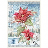 Stamperia A3 Rice Paper - Winter Tales - Poinsettia Red