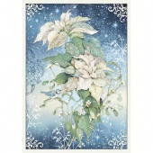Stamperia A3 Rice Paper - Winter Tales - Poinsettia White
