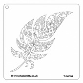 That's Crafty! 6ins x 6ins Stencil - Doodle Feather - TC60054
