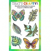 That's Crafty! Clear Stamp Set - Doodled Butterflies & Leaves