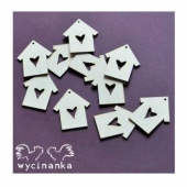 Wycinanka Chipboard - Small Houses with Heart Cut Out